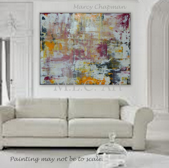 Large Original abstract painting wall art decore white, pink, yellow, black, and more
