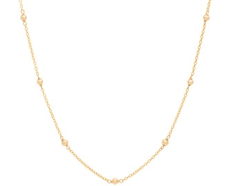 Delicate Gold and Pearl Chain Necklace - 16in. Necklace - 14k Gold Filled - Small White Freshwater Pearls - Gold Chain