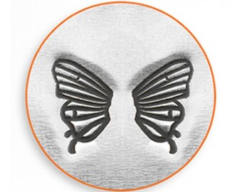 ImpressArt Metal Design Stamp, 6mm Butterfly Wing Set Design Jewelry Leather Wood PMC Metal