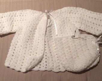 Newborn Sweater and Bonnet 0-3 months