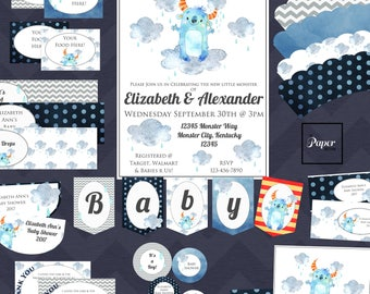 Monster-BLUE-Baby Shower Set-DIY Printable-Instant Download-Editable-Print At Home-Party Supplies