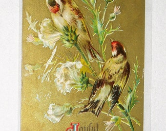 Antique Postcard, Joyful Greetings, Finches