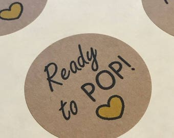 """Ready To POP Stickers, Baby Shower Favor Stickers Labels, Kraft Labels 2"""" Round"""