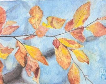 Fall Leaves Gouache Print