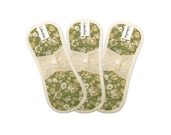 """7.5"""" Organic cotton cloth menstrual pads / cloth pantyliner / cloth pads starter set / cloth pads set - 3 cloth Pantyliners (Antique green)"""