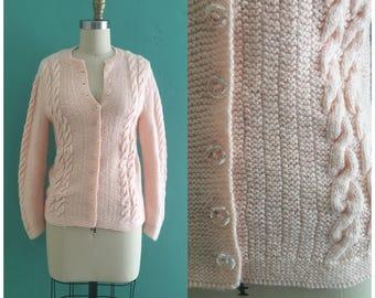 vintage 60's pink knit cardigan // vintage pink sweater