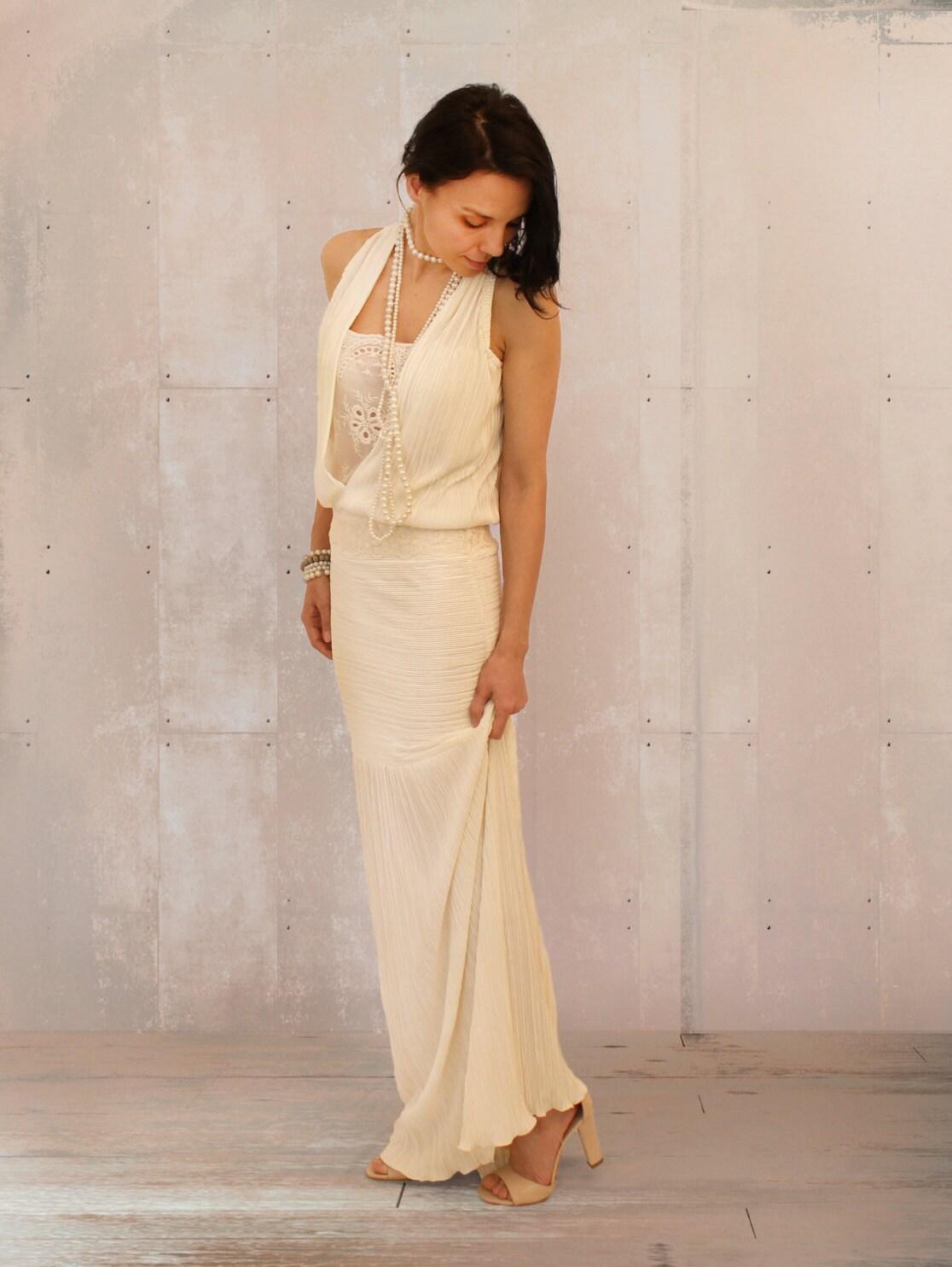 Retro-Hochzeit Boho Brautkleid V Ausschnitt Kleid
