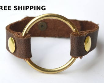 Genuine Leather Bracelet/Petite O-ring leather bracelet/Joanna Gaines style/3rd anniversary gift/Single Wrap Brown Leather Bracelet