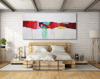 XL Colorful Abstract Painting / Contemporary Art / Modern Art / Texture Painting / Large Painting / Oversized Abstract Painting / Red Art