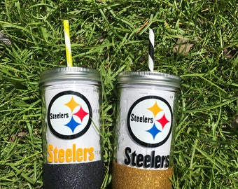 Pittsburgh steelers mason jar glitter dipped tumbler, steelers tumblers, glass mason jar tumbler, football tumblers, glitter dipped tumblers