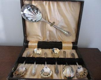 Vintage Art Deco Shell Shaped Fruit/Dessert Spoon Set  EPNS Boxed