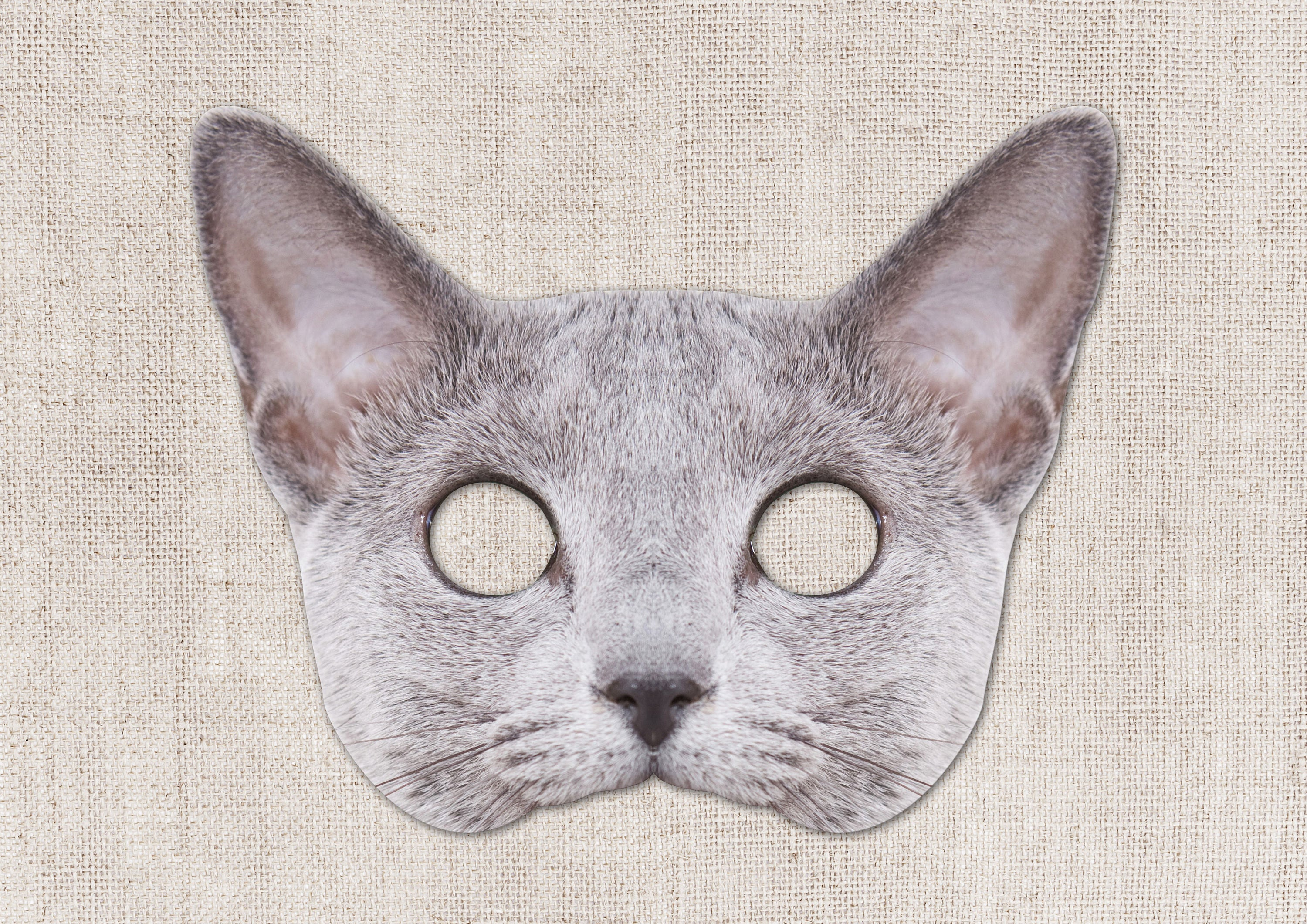Russian Blue Cat Printable Mask Cat Photo-Real Cat Mask