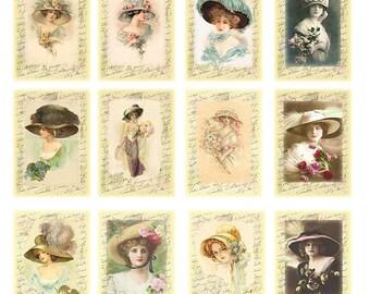 Digital Download Collage Vintage Ladies With Hats print, Vintage tags