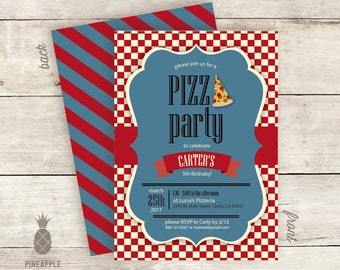 Vintage Inspired Pizza Party Birthday Invitations