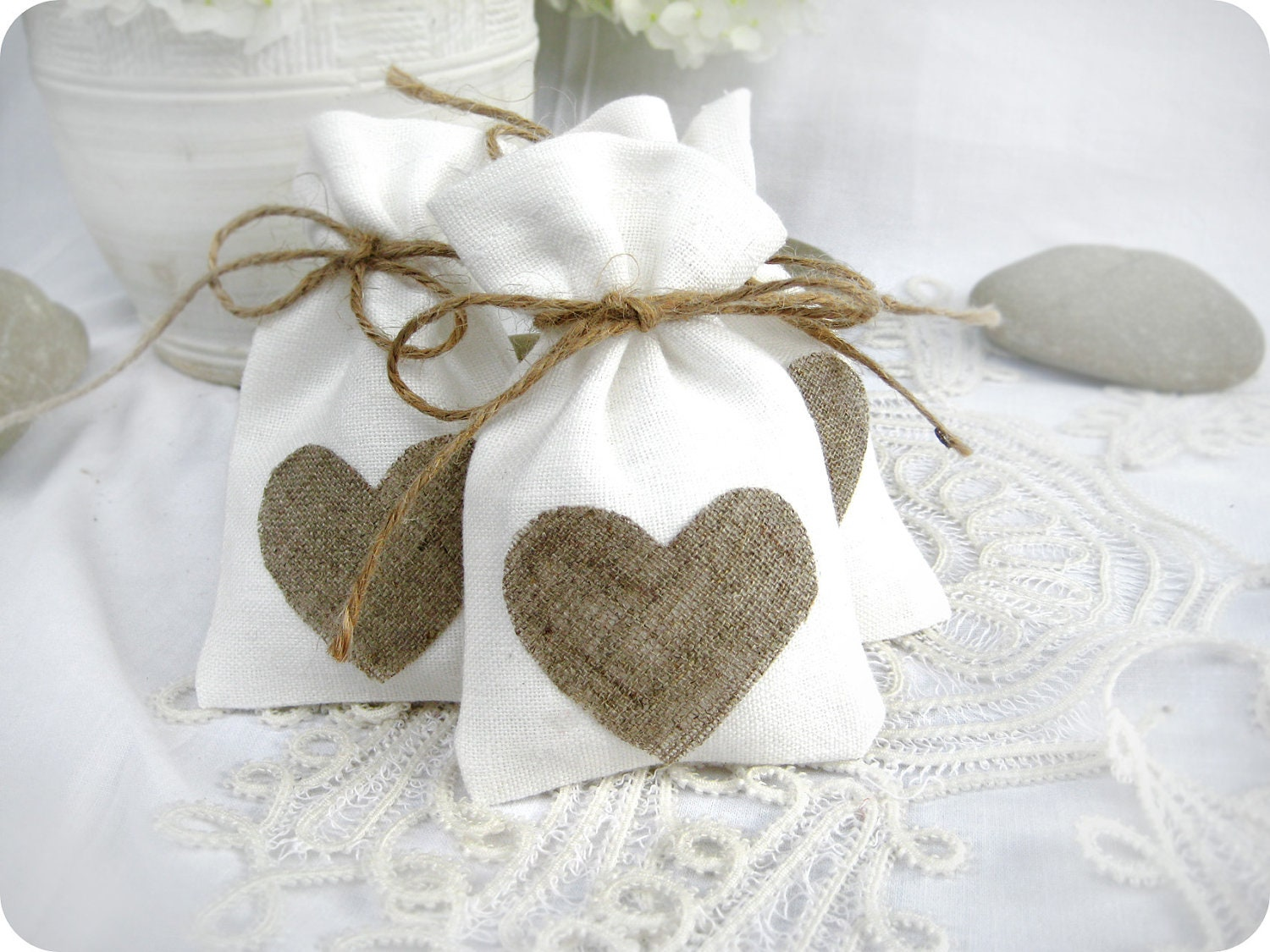 Wedding favor bags Set of 10 White Rustic Linen Wedding