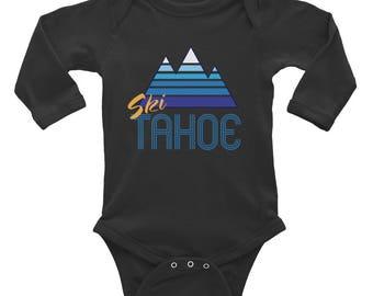 Ski Tahoe Long Sleeve Onesie -Cool, Retro, Ski, Mountain Baby onesie top