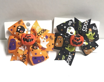 Too Cute to spook halloween hair bow clip with attached charm