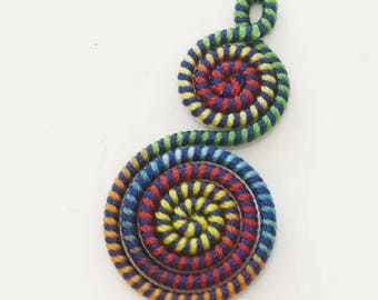 Charm woven on twisted wire 40mm x 20mm green blue red