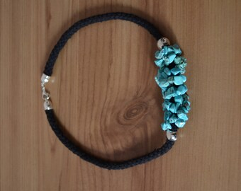 Handcrafted necklace with turquoise natural stones and black cotton cord with snap clasp