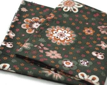 Green Flower pattern Corduroy Fabric, by Yard