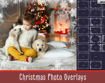 Snowflake Overlays, Christmas Overlays, Photo Frames,Clipart, Winter Snow texture, Holiday Photo effect, winter wonderland, PNG, card