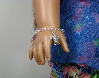 "Sea Turtle Charm Bracelet for 18"" Play Dolls such as American Girl® Lea"