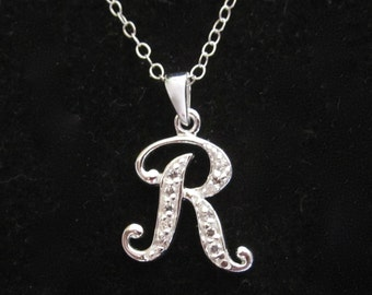 """925 sterling silver CZ Letter Initial """"R"""" pendant charm with necklace chain, personalized monogram necklace"""