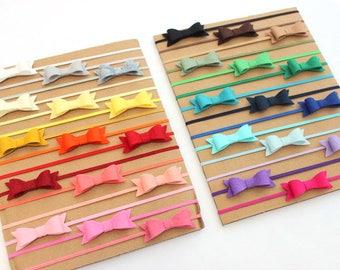 Choose Color, Felt Bow Headbands, Infant Headbands, Baby Headbands, Felt Bows, Newborn Headbands, Tiny Bow Headbands, Baby Girl Headbands