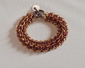Gold and Brown Tire Tracks Bracelet