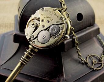 Steampunk Necklace, Vintage key necklace, key watch, Symbolic meaning, Key pendant, brass key necklace, Symbolic necklace, steampunk pendant