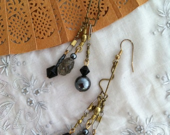 OOAK Night Fishing earrings