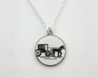 Vintage Horse and Carriage Necklace
