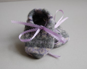 Gray & Lavender Fair Isle Booties - Ready to ship