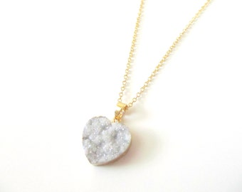 Druzy Necklace - Gold Heart Druzy Pendant - Sparkling Crystal Stone - Dreamy Druzy Jewelry - Gift for Women - Valentine's Gift