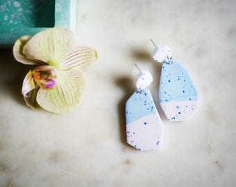 Statement earrings modern, clay jewelry, dangle earrings, polymer clay earrings, geometric abstract earrings, large statement jewelry