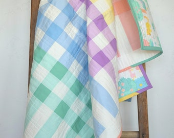 Gingham Baby Quilt | Modern Pastels and Animals