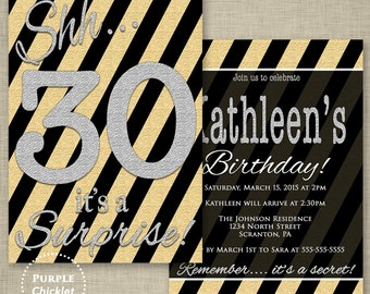 Surprise Birthday Invitation 30th 40th 50th Any Age Gold Silver Black Diagonal Stripes Formal Double Sided 5x7 Printable Party Invite 252bc