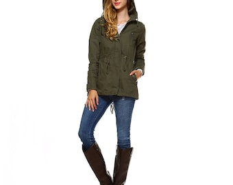 Fashionazzle Women's Lightweigth Cotton Military Jacket Coat