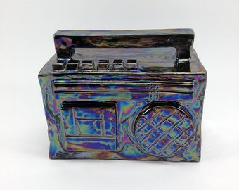 ceramic boombox, ghettoblaster, ceramic art, hiphop-style, ceramic sculpture, colorful luster