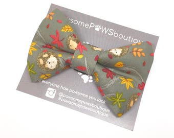 Hedgehog In The Meadow | Dog Bow tie | Dog Collar Bow | Autumn bow | Bow Tie for dogs |
