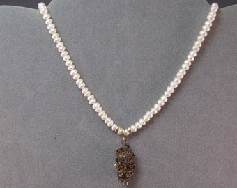 Pearl Necklace with Antique Chinese Filigree Pendant