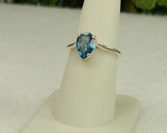 Blue Topaz Ring, Size 8, Ultramarine Blue, Pear Shape, Blue Mystic Topaz, Sterling Silver, December Birthstone, Blue Topaz Solitaire