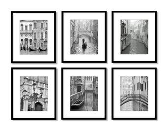 SALE, Venice Print Set, Venice Italy, Black and White Photography, Travel Decor, Europe, Fine Art Prints, Gallery Wall, Set of 6 prints