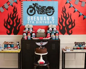 Motorcycle Biker Birthday Printable Party - Custom - SALE!