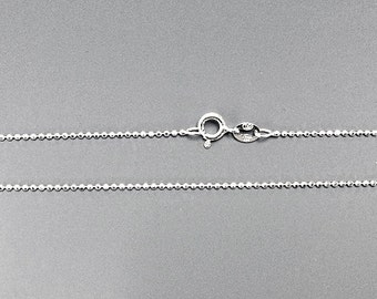 925 Solid Sterling Silver Diamond Cut 1.2mm Bead Chain 16, 18, 20, 24, 30 inch Necklace Made in Italy Marked 925 - SC12BCDXX