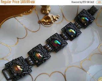 ON SALE 1950's 1960's Vintage Art Carnival Glass Stone Bracelet Unsigned Judy Lee Chunky Wide Statement Jewelry