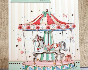 Happy Birthday Card- Birthday Cards- Carousel Birthday- Carousel Card- Carousel Horse- Cards for Her- Friend Card