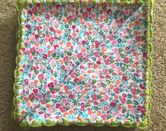 Crochet/Flannel Baby/Receiving Blanket - Pastel Ditzey Floral