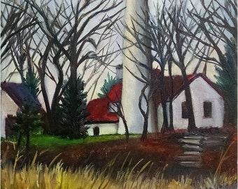 "Original Plein Air Painting of Evanston Lighthouse  - 11x14"" Landscape Painting"