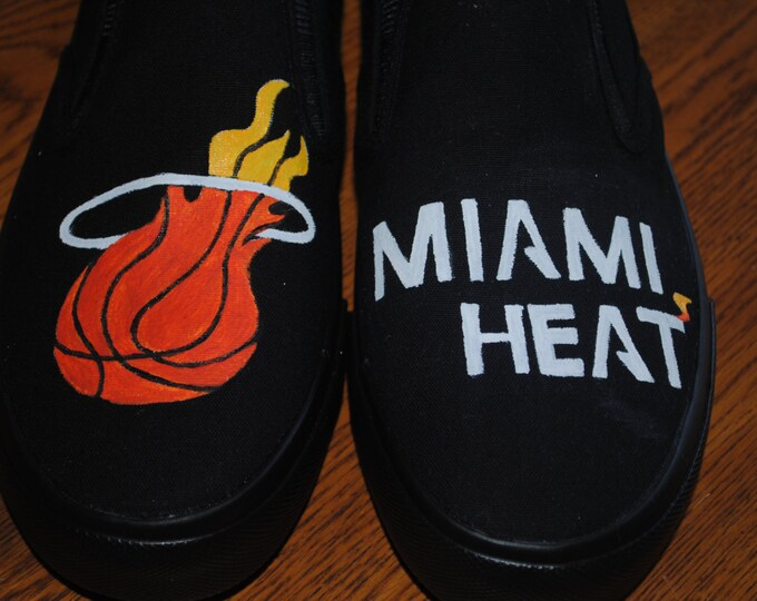 New Miami Heat design Custom Hand Painted sneakers Mens size 10 - sold note these are just a sample